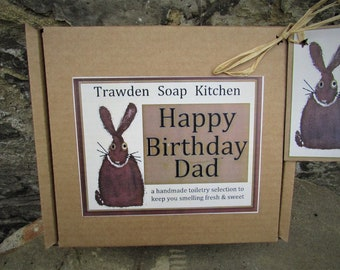 Birthday Gift Set (or Fathers day), Cruelty Free Toiletry Selection for Dad - Handmade Male Grooming Set, Eco Friendly -UK