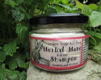 Citrus Herbal Hare Shampoo  (pink label) with Organic Coconut and Walnut Oil, Essential oils of grapefruit and mandarin. Plastic free