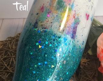 Custom Glitter Watercolor Princess Castle w/lid and straw wine/regular/skinny/hydro stainless steel tumbler