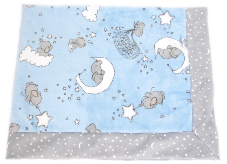 Stroller Blanket  Newborn Baby Gift  Blue and Gray Soft image 0