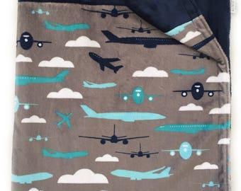Minky Baby Blanket, Soft Baby Blanket, Nursery Blanket, Stroller Blanket, Navy Blue Blanket, Airplane Nursery, Airplane Baby Blanket