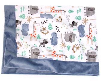 Blue Baby Blanket, Minky Stroller Blanket, Nursery Blanket, Newborn Baby Gift, Naptime Blanket, Denim Blue Baby Blanket, Crib Blanket