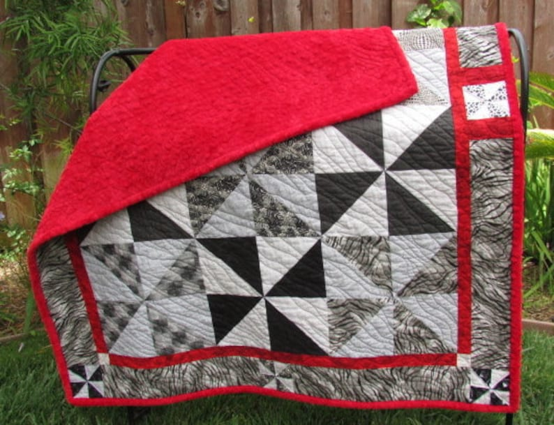 Modern Baby Quilt  Baby Quilt With Minky Backing  Crib Quilt image 0