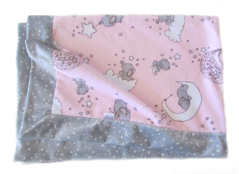 Newborn Baby Gift  Stroller Blanket  Pink and Gray Baby image 0