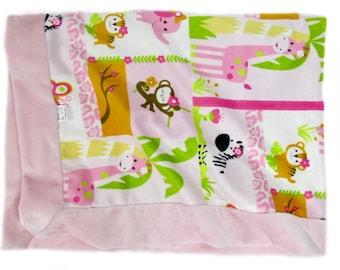 Stroller Blanket, Baby Girl Minky Blanket, Baby Shower, Pink Blanket, Nursery Blanket, Zoo Animal Blanket, Crib Blanket, Naptime Blanket