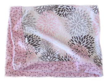 Baby Girl Blanket, Minky Baby Blanket, Soft Baby Blanket, Stroller Blanket, Baby Shower Gift, Crib Blanket, Pink and Gray Baby Blanket
