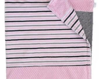 Baby Minky Blanket, Baby Blanket, Stroller Blanket, Baby Shower Gift, Baby Girl Blanket, Pink and Gray Striped Blanket, Toddler Blanket