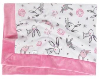 Minky Baby Blanket, Baby Girl Blanket, Baby Shower Gift, Baby Blanket, Stroller Blanket, Crib Blanket, Pink Baby Blanket, Nursery Blanket