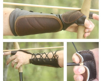 Woodland Brown Leather Arm Guard and 3 Finger Shooting Tab. Bow Hand Shooting Glove, Left Hand, Medium to Large