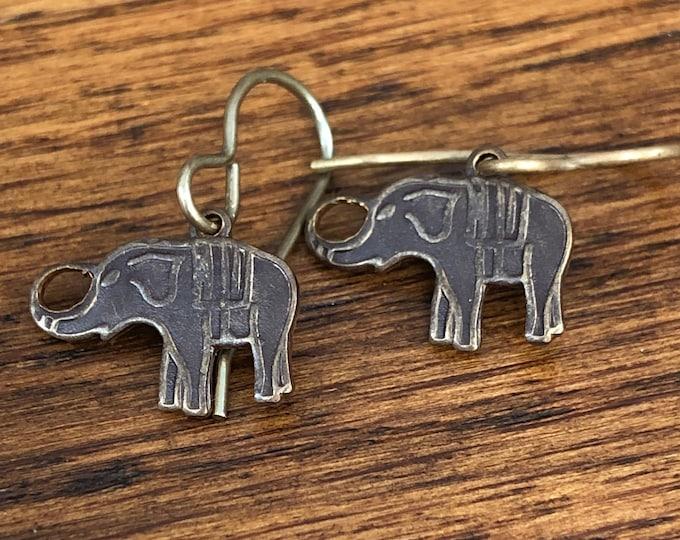 Elephant earrings, natural brass elephant earrings, elephant dangle earrings, dainty brass elephant earrings, brass elephant dangle earrings