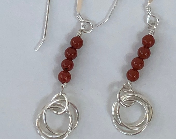 Red jasper earrings, red jasper and ring earring, semi precious earrings, sterling silver and red jasper earrings, red jasper dangle earring