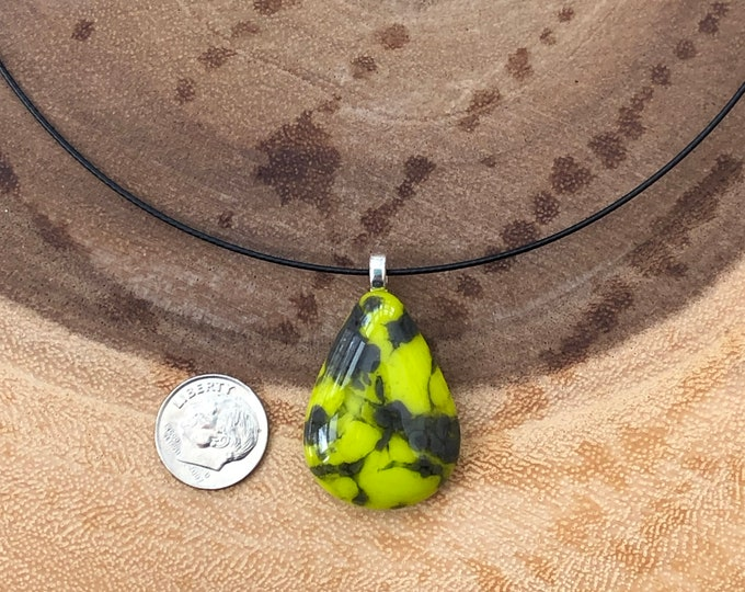 Teardrop necklace, green and gray teardrop necklace. Fused glass pendant, handmade pendant, fused glass jewelry.