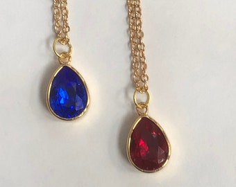 Cobalt blue Swarovski gold plate pear pendant, red Swarovski gold plate pear pendant  24 inch gold plate chain with blue or red pear pendant