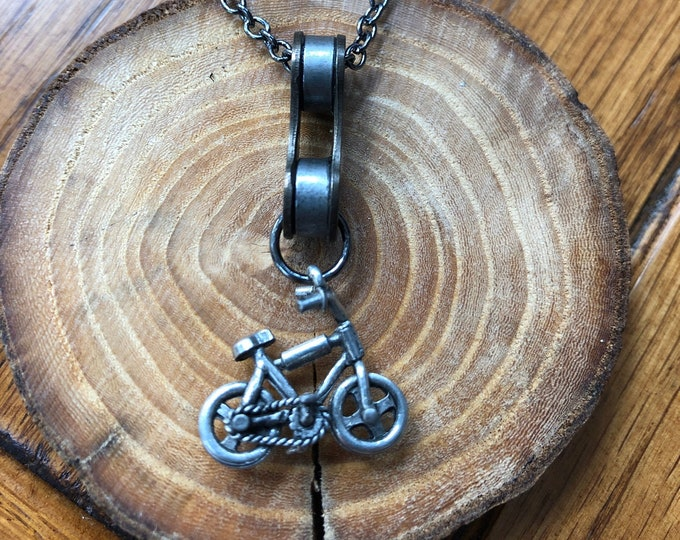 Bicycle necklace, sports theme jewelry, full bicycle chain link necklace, bicycle enthusiast jewelry, bicycle lover jewelry, bike charm.