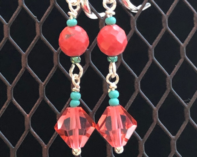 Dangle earrings, fashion coral and teal earrings, beaded dangle earrings, teal and coral dangel earrings, fashion earrings, coral crystals