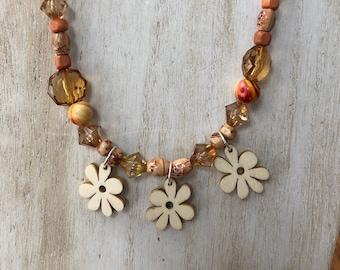 boho chic necklace, wood beaded necklace, wood flower necklace, flower necklace, boho hippy necklace