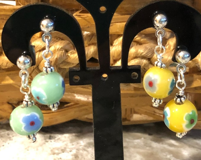 Glass drop earrings, post drop earrings, Tween Jewelry , round flower bead earrings, starter earrings, dainty drop earrings, kids jewerly