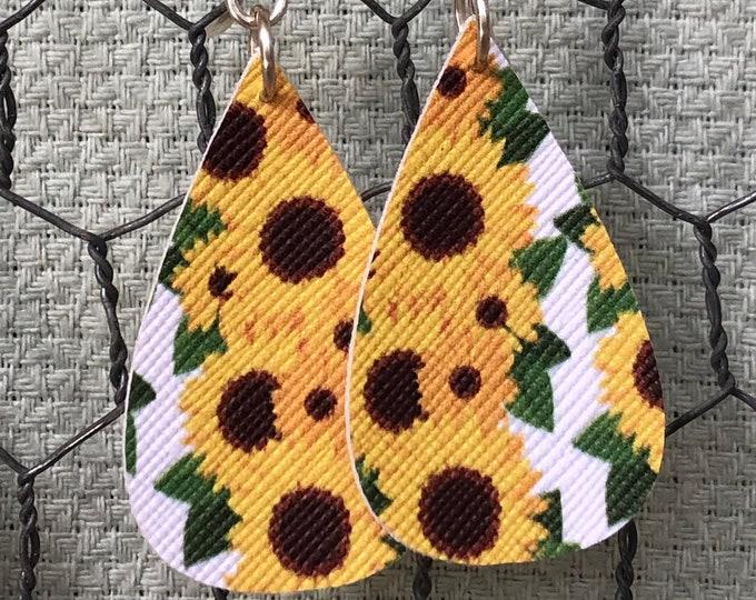 Sunflower teardrop faux leather earrings, leaf shape faux leather sunflower earrings, teardrop earrings, sunflower faux leather earrings