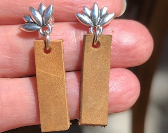 Leather post earrings, leather drop post earrings, post leather bar earrings with lotus flower post, leather bar post earrings, lotus posts.