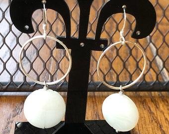 Sterling silver dangle earrings, large sterling silver ring earrings, sterling silver fashion earrings, oriental inspired dangle earrings
