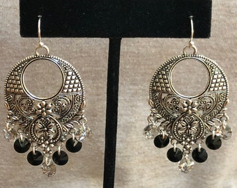 filigree statement earrings, chandler earrings, filigree and crystal chandler earrings, detailed earring with black and smoke small crystals