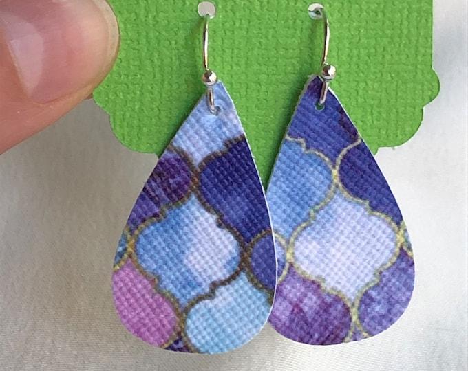 Blue modern mosaic teardrop faux leather earrings, leaf faux leather earrings, mosaic pattern teardrop earrings,  leaf faux leather earrings