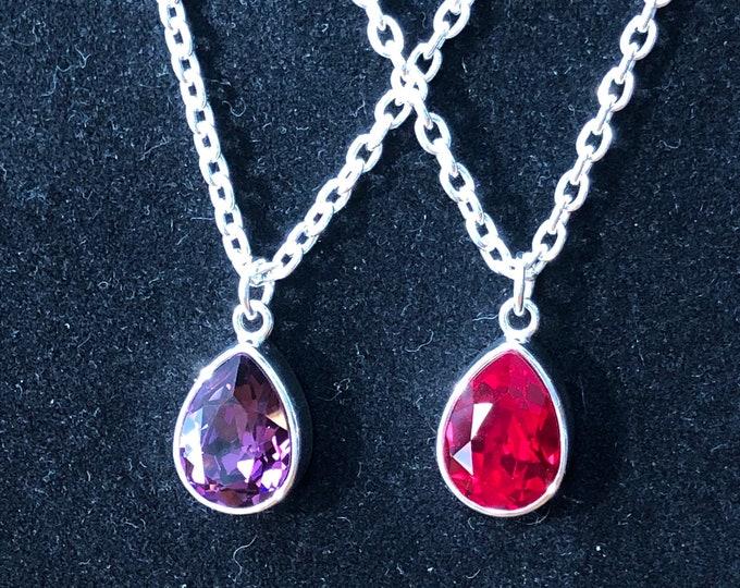 Swarovski necklace, teardrop fashion Swarovski necklace, red diamond swarovski crystal necklace, swarovski jewelry, teardrop necklace