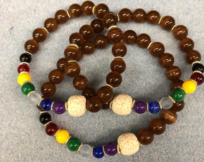 Stretch diffuser bracelet, chakra inspired lava diffuser bracelet, essential oil bracelet, stackable bracelet, brown and gold chakra.