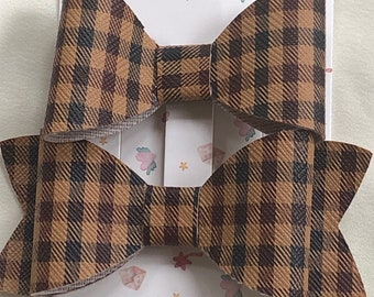 brown faux leather bows, medium size brown checked bows, two styles of faux leather bow barrette, equestrian style brown check bow hair clip