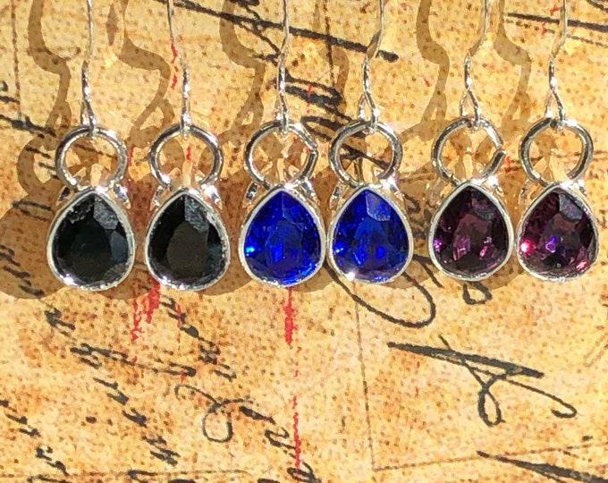 Swarovski earrings, teardrop fashion Swarovski earring, small black diamond swarovski crystal earrings, swarovski jewelry, teardrop earring