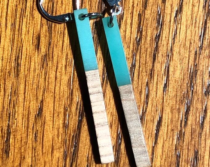 Wood and resin dangle earrings, light green resin and wood bar earrings, wood and resin thin bar earrings, trendy wood and resin earrings