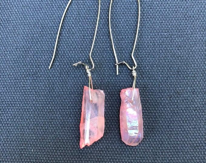 Crystal earrings, crystal dangle earrings, pink crystal quartz earrings, pink quartz drop earrings