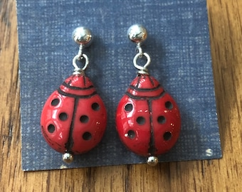 Ladybug earrings, ladybug dangle earrings, ladybug earrings with sterling silver studs, dainty ladybug drop earrings, cute ladybug earrings