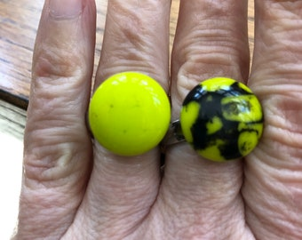 Light green adjustable ring, adjustable glass rings, lime green ring, green fused glass ring, green and black stripped glass ring .