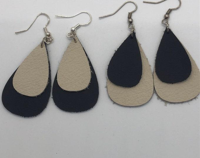 Teardrop leather earrings, leaf leather earrings, double layer teardrop earrings, navy and cream teardrop leather earrings, leather earrings
