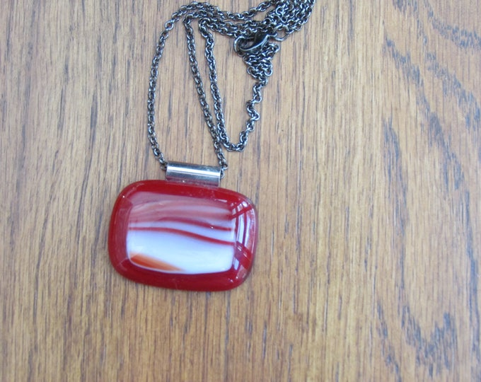 Red glass pendant, red fused glass necklace, red and white fused glass necklace, swirled rectangle glass pendant.