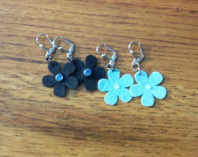 Suede leather blue flower earrings.  Small and delicate flower earrings, white swarovski flat back center, blue flower earrings black flower