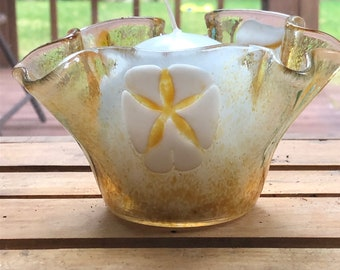Fused glass sea shell candle votive, glass sea shell candle votive, votive candle holder with sea shells, starfish, sand dollar and shell.