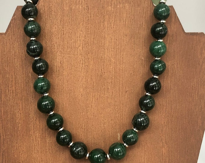 Chunky Malay jade choker, green jade choker, organic Malay jade necklace, semi precious stone Malay jade necklace, green statement choker.
