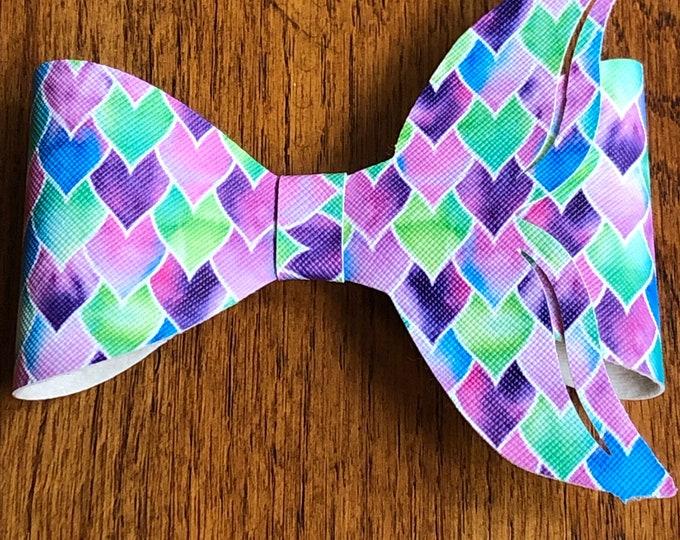 Mermaid tail faux leather hair bow, mermaid tail barrette, purple heart faux leather mermaid tail hair barrette, large mermaid tail hair bow