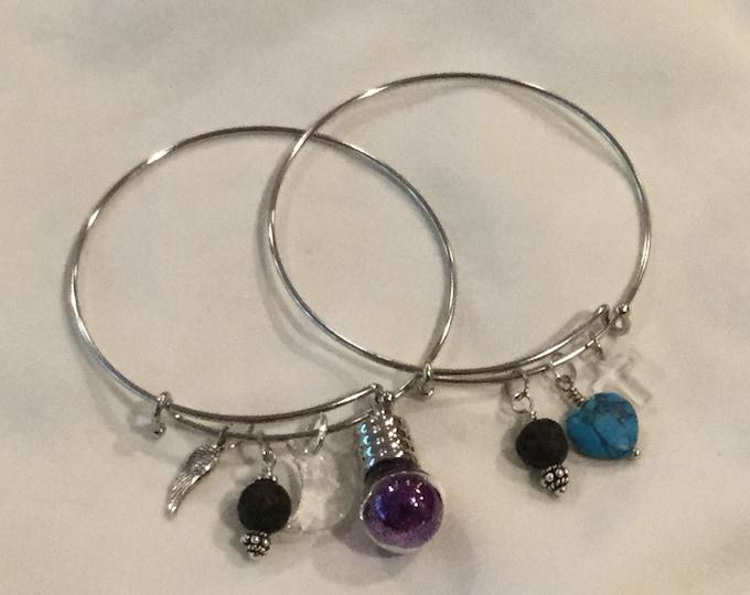 Charm bracelet, adjustable charm bracelet, pixy dust charm bracelet, turquoise heart charm bracelet, metal charm bracelet, pixie dust.