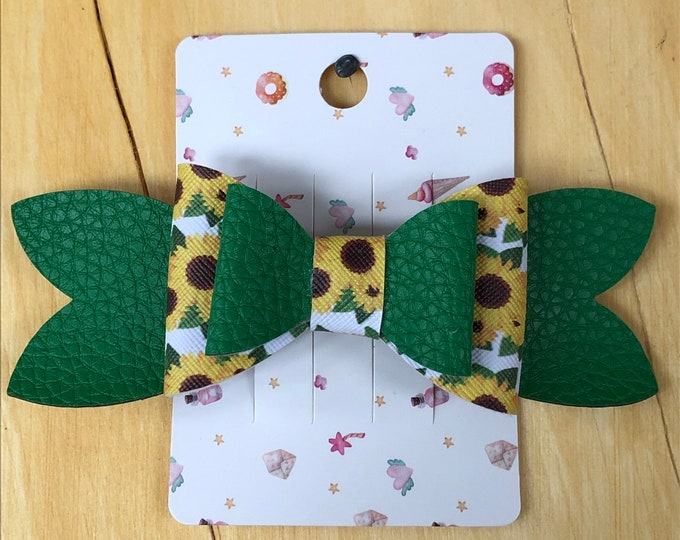 Sunflower and green faux leather bow, fancy faux leather barrette bow, large 2 loop bow, sunflower hair bow, 2 loop faux leather hair bow.