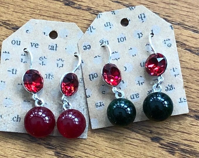 Ear ring, red ear ring, holiday ear ring, fancy ear ring, red and black ear ring.