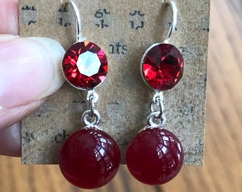 Red diamond earrings, red diamond dangle earrings, fashion earrings, holiday earrings, dangle earrings, holiday fashion jewelry,