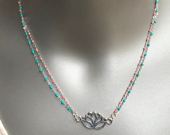 lotus flower beaded choker necklace, large lotus flower charm, lotus flower charm double beaded chain necklace, coral and turquoise choker