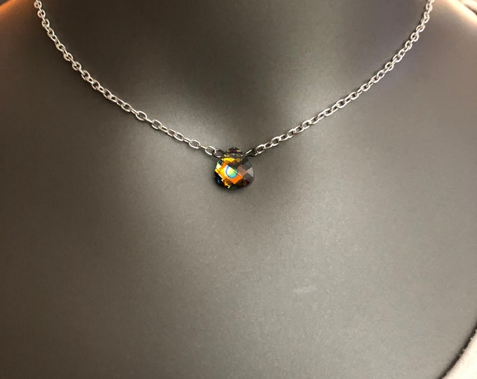 Dainty necklace, dainty jewelry, peacock colored necklace, choker necklace, teardrop shaped necklace, silver chain choker necklace.