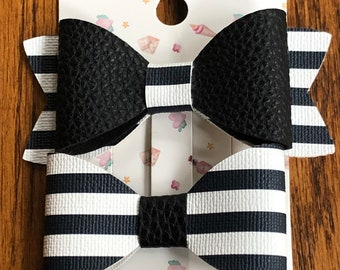 Black and white faux leather bows, medium size black and white bows, two styles of faux leather bow barrette, black stripe bow hair clip