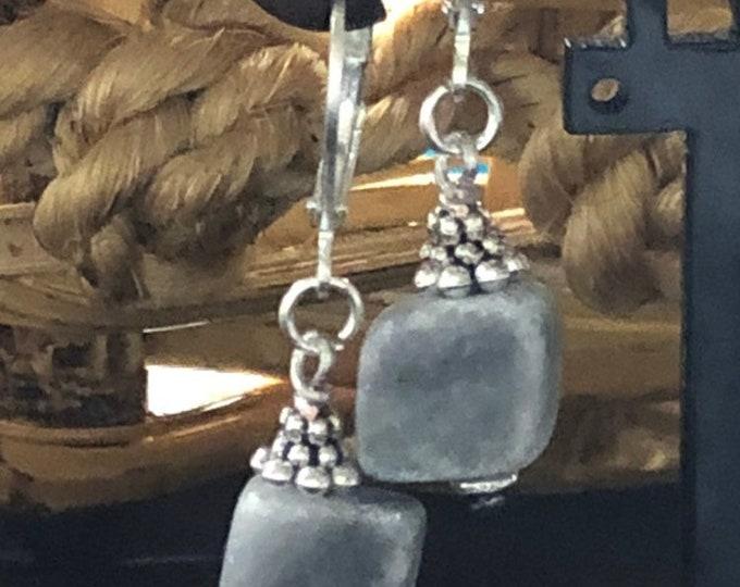 Gray dangle earrings, natural stone earrings, natural stone jewelry, marble earrings, marble jewelry, fashion marble earrings.