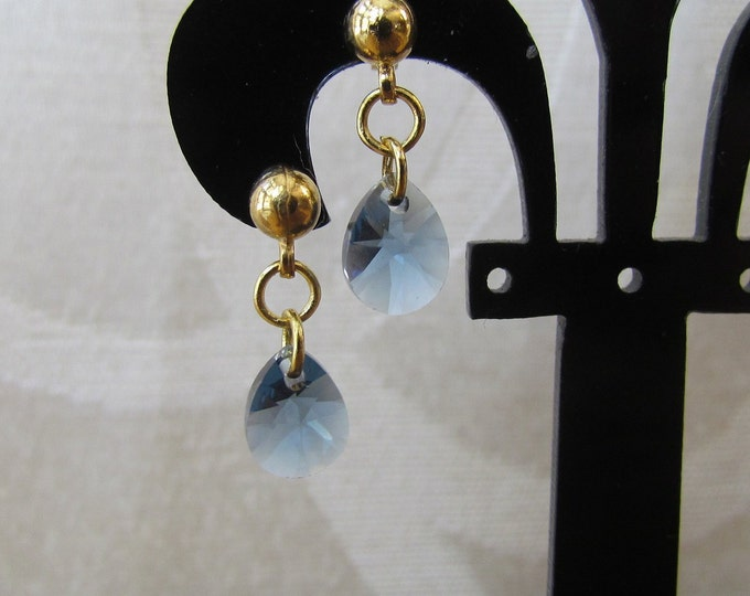 Swarvarski dainty earring, blue dangle earrings, denim blue pear pendant, blue pear shape earrings, denim blue and gold jewelry.