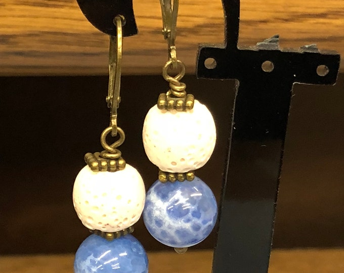 White lava stone earrings, denim crackel earrings, brass diffuser earrings, essential oil dangle earrings, blue earrings, diffuser earrings